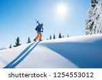 low angle shot of a skier... | Shutterstock . vector #1254553012