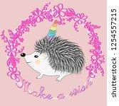 a cute cartoon hedgehog with a... | Shutterstock . vector #1254557215