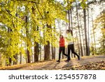 two female runners jogging... | Shutterstock . vector #1254557878