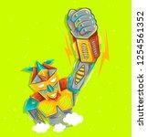 cute robot waving with robotic... | Shutterstock . vector #1254561352