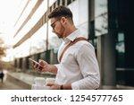 side view of a businessman... | Shutterstock . vector #1254577765