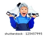 Cheerful Little Boy In Warm...