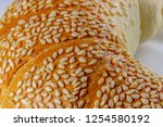 close up of a bun with sesame... | Shutterstock . vector #1254580192