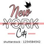 new york good city. girl t... | Shutterstock . vector #1254584542