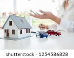 car and house model with agent... | Shutterstock . vector #1254586828