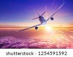 airplane flies into the sun   Shutterstock . vector #1254591592