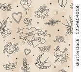 traditional tattoo style... | Shutterstock .eps vector #1254604018