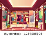 messy womans walk in closet ... | Shutterstock .eps vector #1254605905