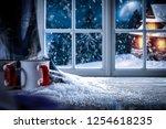 winter windows in a christmas... | Shutterstock . vector #1254618235