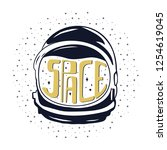 vintage hand drawn astronaut...   Shutterstock . vector #1254619045