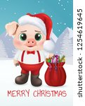 cute pig character. happy new... | Shutterstock .eps vector #1254619645