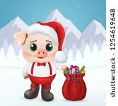 cute pig character. happy new... | Shutterstock .eps vector #1254619648