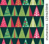 seamless pattern with christmas ... | Shutterstock .eps vector #1254635848
