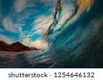 giant surfing wave barreled at... | Shutterstock . vector #1254646132
