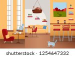 interior of cat cafe with large ... | Shutterstock .eps vector #1254647332