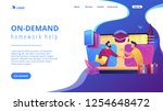 teacher with books helping... | Shutterstock .eps vector #1254648472