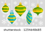 green blue xmas toy banner.... | Shutterstock .eps vector #1254648685