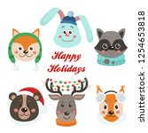 christmas set with isolated... | Shutterstock .eps vector #1254653818