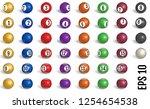 billiard  pool balls collection.... | Shutterstock .eps vector #1254654538