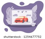 red vector car for rent on the... | Shutterstock .eps vector #1254677752