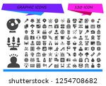 vector icons pack of 120 filled ... | Shutterstock .eps vector #1254708682