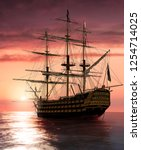 Admiral Nelson Flagship HMS Victory sailing into the sunset, 3d render illustration