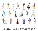 colorful people go about their... | Shutterstock .eps vector #1254729592