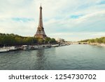 eiffel tower in paris from the... | Shutterstock . vector #1254730702
