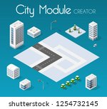 isometric set module city with... | Shutterstock .eps vector #1254732145