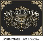 tattoo logo template. old... | Shutterstock .eps vector #1254737962