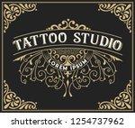 tattoo logo template. old... | Shutterstock .eps vector #1254737962
