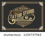 vintage tattoo logo with floral ... | Shutterstock .eps vector #1254737965