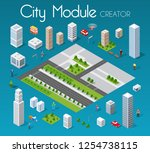 isometric set module city with... | Shutterstock .eps vector #1254738115
