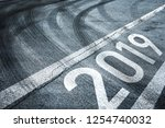 conceptual start to the new... | Shutterstock . vector #1254740032