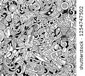 hippie hand drawn doodles... | Shutterstock .eps vector #1254747502