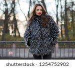 pretty woman in gray lama fur... | Shutterstock . vector #1254752902