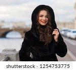pretty lady in black fur coat... | Shutterstock . vector #1254753775