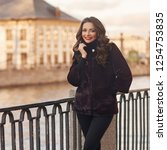 young beautiful stylish woman... | Shutterstock . vector #1254753835