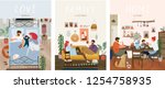 set of cute vector... | Shutterstock .eps vector #1254758935