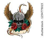 skull symbol tattoo design... | Shutterstock .eps vector #1254775015