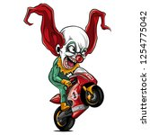 vector illustration joker biker ... | Shutterstock .eps vector #1254775042