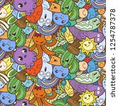 funny doodle monsters on... | Shutterstock . vector #1254787378