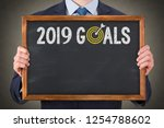 new year 2019 resolutions on... | Shutterstock . vector #1254788602