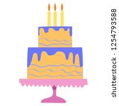 multi tiered cake on a stand.... | Shutterstock .eps vector #1254793588