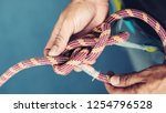 rope with climbing eight knot... | Shutterstock . vector #1254796528