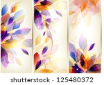 set of floral cards | Shutterstock .eps vector #125480372