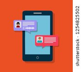 concept of online chat man and... | Shutterstock . vector #1254825502