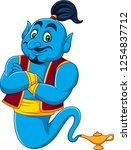 cartoon genie coming out of a... | Shutterstock .eps vector #1254837712