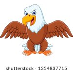 cartoon bald eagle with wings... | Shutterstock .eps vector #1254837715