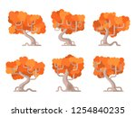set of cartoon autumn trees.... | Shutterstock .eps vector #1254840235